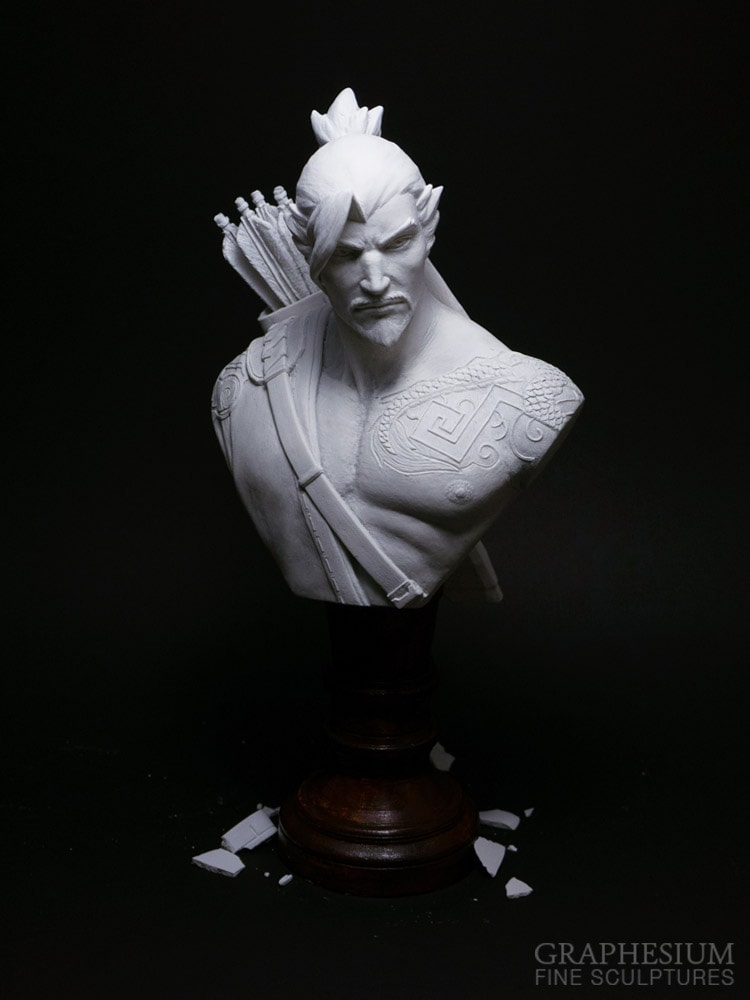 Custom handmade Hanzo Shimada (Overwatch) sculpture / statue / figure by Graphesium (gsculpt)
