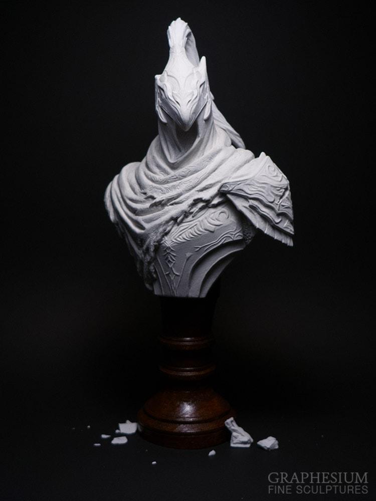 Custom handmade stone Knight Artorias / 騎士アルトリウス - 深淵歩き, the Abysswalker (Dark Souls) sculpture / statue / figure by Graphesium (gsculpt)